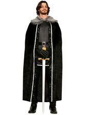 Mens Black Fur Cloak Jon Snow Medieval Fancy Dress Costume Adult Game Of Thrones