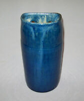 Antique Vtg Hand Made Blue Glased Art Pottery Wall Vase Maker Marked Italian?