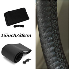 Microfiber Leather Car Steering Wheel Cover Anti-slip  with Needle & Thread 15""