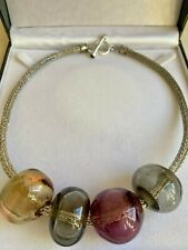 Fabulous Sterling Silver 925  Necklace Thick Woven Chain With Huge Glass Balls