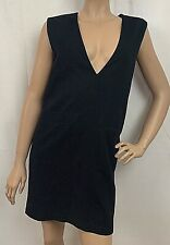 Sag Harbor Womens Jumper Dress Wool Black V Neck Pockets Sleeveless Petite 6