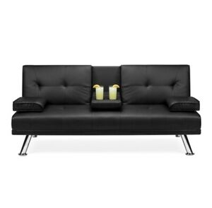 Modern Faux Leather Fold Down Convertible Futon Sofa Bed...