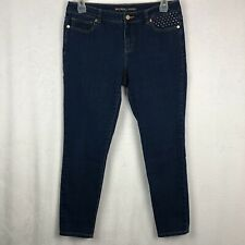 Michael Kors Skinny Jeans Size 10 Stretch Dark Blue Denim Gold Bling Studded