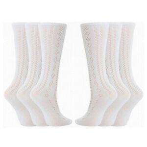 Girls Pelerine Socks Cotton Rich 3/4 Long School Knee High White 1 2 3 6 Pairs