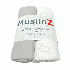 MuslinZ 2PK Baby Large Muslin Squares 100x90cms 100% Cotton - Woodland/Grey