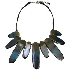 Tribal oversized statement jewellery dark blue-green colour choker necklace