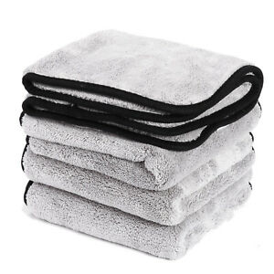 4X Microfibre Car Cleaning Cloths 600gsm Thick Drying Towel Home Washing 16 inch