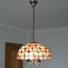 Tiffany Shell Ceiling Lamp Stained Glass Pendant Light Chandelier Lighting PL606
