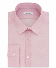 $99 CALVIN KLEIN Men SLIM-FIT STRETCH PINK WHITE LONG-SLEEVE DRESS SHIRT 17