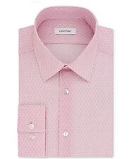 $99 CALVIN KLEIN Men SLIM-FIT STRETCH PINK WHITE LONG-SLEEVE DRESS SHIRT 15-15.5