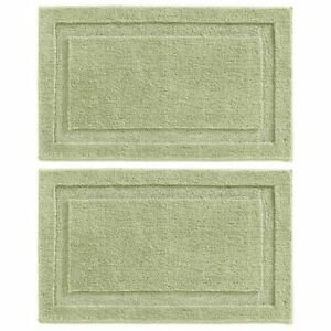 "mDesign Soft Microfiber Non-Slip Spa Mat Rug, 34"" x 21"", 2 Pack - Sage Green"