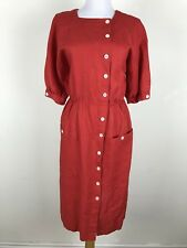 Vintage 1980s Dress Adele Simpson Linen Red Sheath Button Front Pockets S