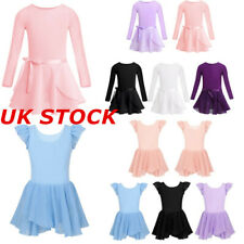 UK Girls Glitter Ballet Dance Dress Kids Gymnastics Ruffled Leotard Dancewear