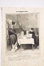 DAUMIER Charivari 1844 Les Etrangers à Paris Ce qu'on appèlle dîner au restauran