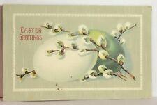PostCard Easter Greetings Eggs Floral Posted w/ Stamp 3-8-1910 Vintage