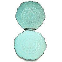 Pfaltzgraff Stoneware TEAL Remembrance Salad Plates Lot of 2 Discontinued