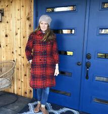 Vtg Mar Del Wool Herringbone Double Breasted Wool Dress Coat Winter Red Blue Sm