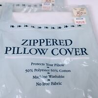 VTG Zippered Pillow Cover (21x27) Std White No-Iron Cotton Blend Made In USA. T9