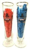 Vintage Lindemans Merchant DuVin Beer Glass Vtg Kriek Framboise Peche Pomme Pair