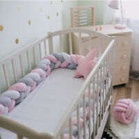 UK_ Bedding Bumper Baby Cot Infant Crib Woven Thick Plush  Pad Pillow