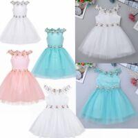 Kids Baby Flower Girl Birthday Wedding Formal Christening Party Tulle Tutu Dress