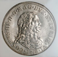 1712, Livorno, Cosimo III de' Medici. Silver Tollero Coin. Key-Date! NGC MS-62!