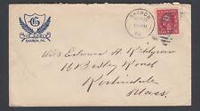 USA 1915 THE GABLE HOTEL COVER SHARON PENNSYLVANIA TO ROSHINDALE MASSACHUSETTS