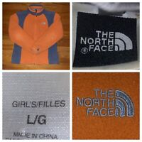 The North Face Girl's Orange And Gray Full Zip Fleece Jacket Size Large