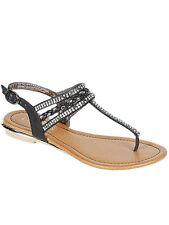 New Womens Gladiator Flat Sandals Black T-strap Thong Flip Flops Size 7