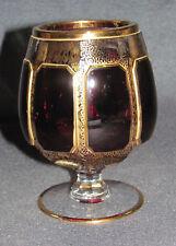 Cognac Kristallglas Vase Fensterschliff Goldbemalung