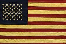 """Primitive Antique Look Tea Stained American Flag Nylon with 50 STARS 60"""" x 36"""""""