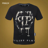 PHILIPP PLEIN Black/White Letters Beading Men Casual T-shirt P8862# Size M-3XL