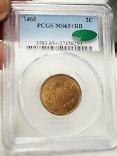 1865 Two Cent Piece PCGS MS-65+ RB CAC# 8250