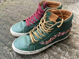 Rare Green VANS Old Skool Skate Shoes High Top Floral UK Size 8.5 BMX Hippy