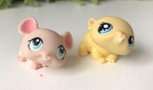 2 X LPS Littlest Pet Shop Pink Mouse Rat & Yellow Hamster Blue Eyes Hasbro