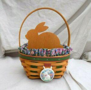 Easter Basket w/ Liner, Tie-on Charm, Protector & Bunny Divider 1999 Longaberger