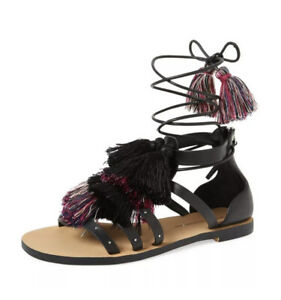 Rebecca Minkoff Womens Elisha Tassel Size 7.5  Black Strappy Sandals Summer New