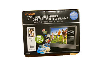 "Slyvania 7"" Stainless Steel Digital Photo Frame Brand New In The Box Family"