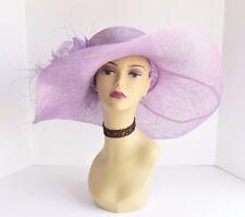 58 (Lilac)Kentucky Derby Church Wedding Feather Flower Sinamay Wide Dress Hat