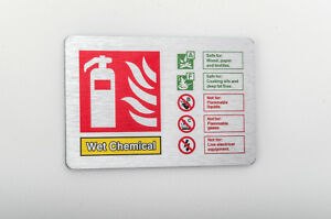 Wet Chemical Fire Extinguisher ID Sign 150mm X 100mm  Brushed Silver (BFI-20Y)