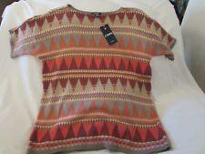"Ladies ""Chaps"" Size 1X, Multi Color, Round Neck, SW Design, Short Sleeve Sweater"
