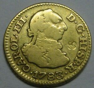 1783 MADRID 1/2 ESCUDO CHARLES III GOLD DOUBLOON CHOP MARK CARIBBEAN COLONIAL