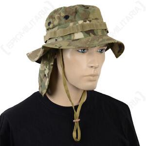 British Multitarn Camo Rip Stop Boonie Hat with Neck Flap - Army Bush Cap Sun