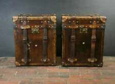 Antique Handmade English Leather Campaign Style Trunks Chests Side Table