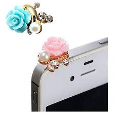 2X 3D Cute Camellias Flower Crystal Anti Dust Plug Bling Earphone Jack Glit K2A2