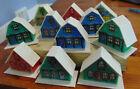 11 Christmas Putz Houses Chalets 1970's Plastic Village