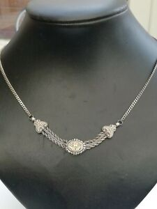 Victorian vintage Silver with gold Albertina Necklace antique vintage jewellery