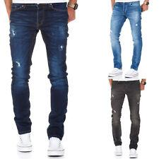 Herren Strech Basic Slim Fit Denim Jeans Hose Schwarz/Grau/Blau 7998