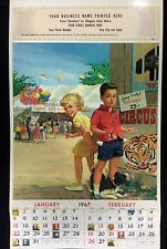 "CHILDREN DOG AT THE CIRCUS LARGE LITHO PRINT 12"" by16""1960s #C92"