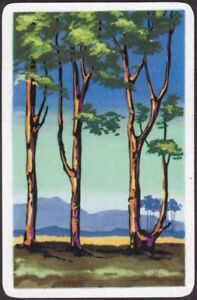 Playing Cards 1 Single Card Old Vintage * SCENIC TREES LAKE + HILLS * Art Design